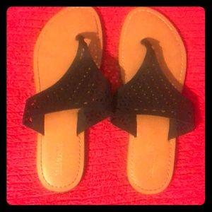 Cute Black Pattern Flip Flop Sandals